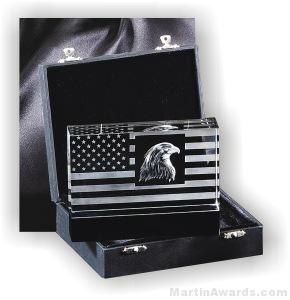 Crystal Glass Awards – 6″ x 4 1/2″ Genuine Prism Optical Crystal Patriot Desigb With Black Base 1