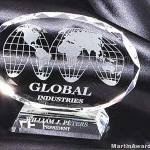 Oval Genuine Crystal Glass Award