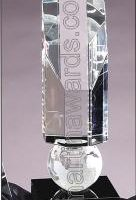 "Crystal Glass Awards - 2 3/4"" x 9"" Genuine Prism Optical Crystal With Black Base"