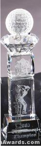 "Crystal Glass Awards - 3"" x 11"" Genuine Prism Optical Crystal"