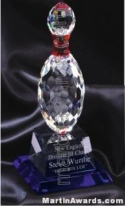4 1/4″ x 10″ Bowling Pin Prism Optical Crystal Glass With Indigo Blue Sub Base 1