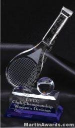 Tennis Racket And Ball Crystal Glass With Indigo Base