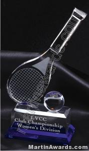 4 1/4″ x 10″ Tennis Racket And Ball Prism Optical Crystal Glass With Indigo Blue Sub Base 1