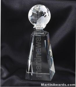 2 3/4″ x 7 3/4″ Genuine Prism Optical Crystal Glass Awards Globe With Base 1