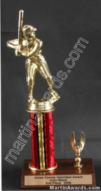 Red Single Column Male Baseball/Softball With 1 Eagle Trophy