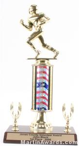 Red/White/Blue Single Column Football With 2 Eagles Trophy 1