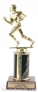 Black Single Column Football Trophy