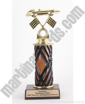 Wood Single Column Pinewood Derby Car Trophy