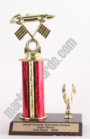 Red Single Column Pinewood Derby Car With 1 Eagle Trophy