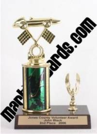 Green Single Column Pinewood Derby Car With 1 Eagle Trophy