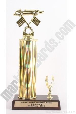 Gold Single Column Pinewood Derby Car With 1 Eagle Trophy