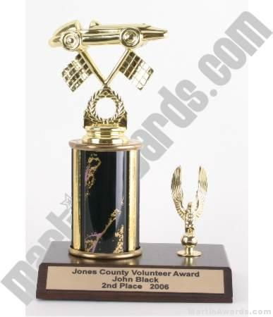 Black Single Column Pinewood Derby Car With 1 Eagle Trophy 1