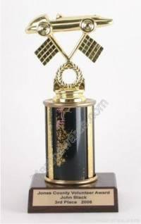 Black Single Column Pinewood Derby Car Trophy
