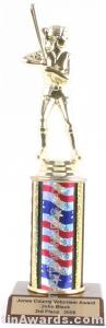 Red/White/Blue Single Column Female Softball Trophy