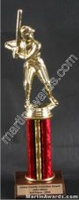 Red Single Column Baseball/Softball Trophy 1