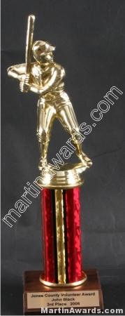 Red Single Column Baseball/Softball Trophy