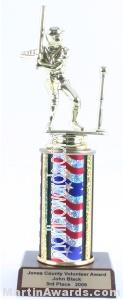 Red/White/Blue Single Column Male T-Ball Trophy