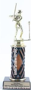 Wood Single Column Female T-Ball Trophy