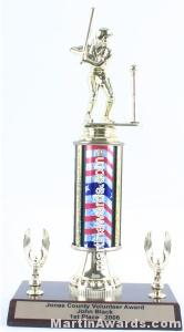 Red/White/Blue Single Column Female T-Ball With 2 Eagles Trophy
