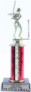 Red Single Column Female T-Ball Trophy