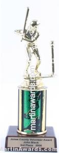 Green Single Column Female T-Ball Trophy