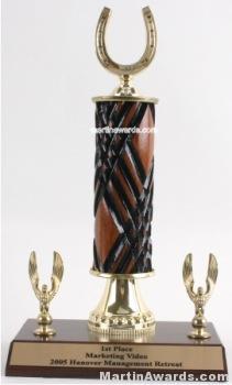 Wood Single Column Horseshoe With 2 Eagles Trophy