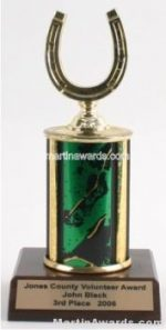 Green Single Column Horseshoe Trophy