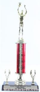 Red Single Column Male Basketball With 2 Eagles Trophy