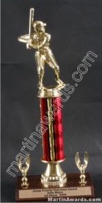 Red Single Column Male Baseball/Softball With 2 Eagles Trophy