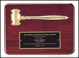 "Gold Electroplate Gavel on 9"" x 12"" Rosewood Piano-Finish Plaque"