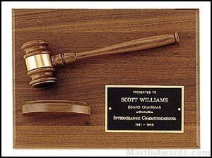 Wood Gavel On Walnut Plaque