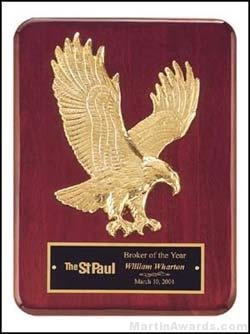 Plaque - Piano-Finish Plaques with Sculptured Relief Gold Eagle