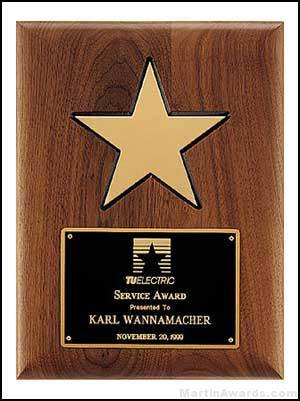 Plaque - American Walnut Plaque w/Star Casting