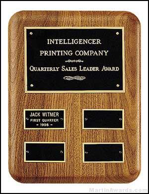 Plaque - American Walnut Perpetual Plaque for Quarterly Awards