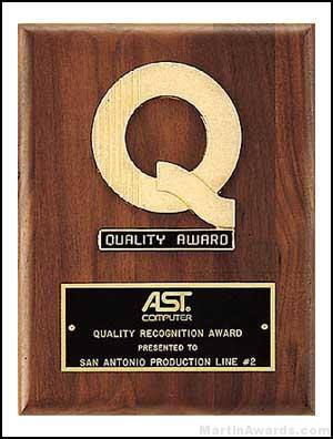 Plaque with Quality Award