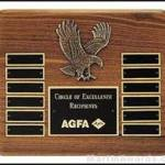 Plaque – Walnut Stained Perpetual Plaques with Antique Bronze Cast Eagle 1