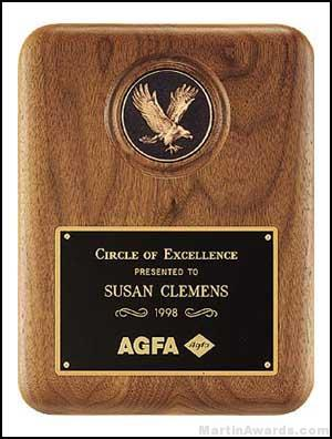 Plaque - Walnut Stained Plaques with Antique Bronze Cast Eagle Medallion