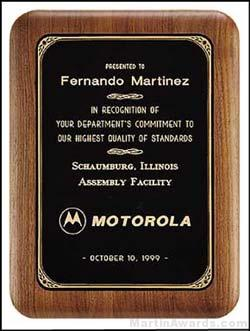 Walnut Plaque w/Black Brass Plate with Gold Border
