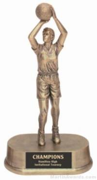 Female Basketball Gold Resin Trophy