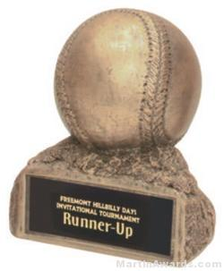 Baseball On Base Gold Resin Trophy 1
