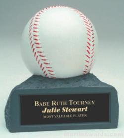 White Baseball On Base Gold Resin Trophy