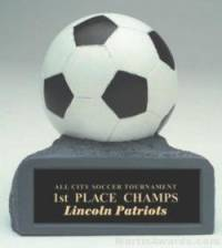 B/W Soccer On Base Gold Resin Trophy