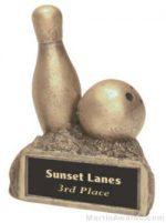 Bowling On Base Gold Resin Trophy