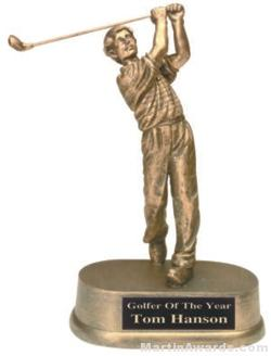 Male Golf Gold Resin Trophy