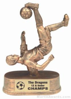 Male Bicycle Kick Soccer Gold Resin Trophy