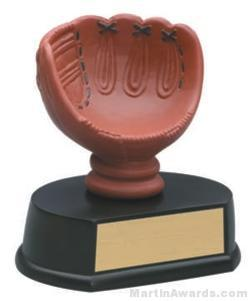 (Holds Baseball) Baseball Glove Gold Resin Trophy