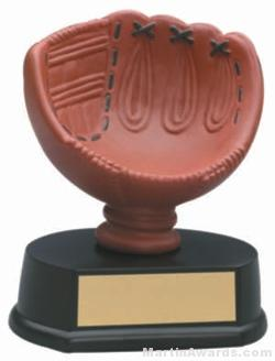 (Holds Softball) Softball Glove Gold Resin Trophy 1