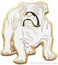 "7/8"" Enameled Bull Dog Mascot Pin"