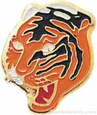 """1 1/16"""" Enameled Tiger Mascot Pin"""