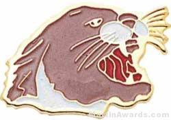 """15/16"""" Enameled Cougar Mascot Pin"""